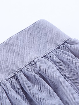Pleated Solid Color Mesh Patchwork Skirt
