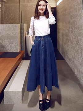 Vintage High Waist Denim Skirt