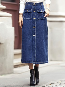 Buckle Rivet  Denim Skirt
