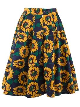 Pleated Floral Print A-Line Skirt