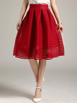 Solid Color A-Line Pleated Hollow Skirt