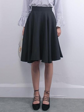 Pleated Solid Color A-Line Skirt