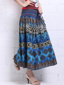 Ethic Printed Geographic Long Skirt