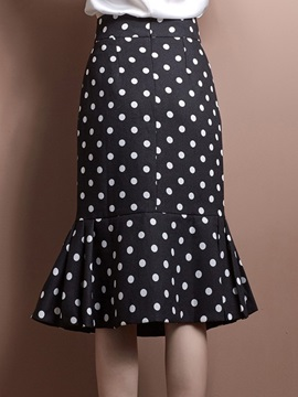 White Polka Dots Black Falalal Skirt