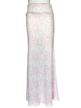 Pink Floral Printed White Long Skirt