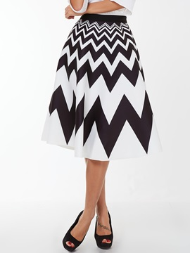 Striped Printed White Skirt