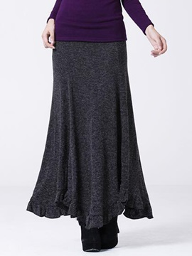 High Waisted Knitwear Pleated Long Skirt