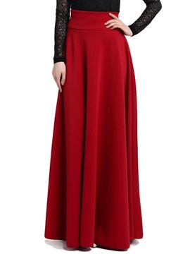 High Waist Solid Color Winter Long Skirt