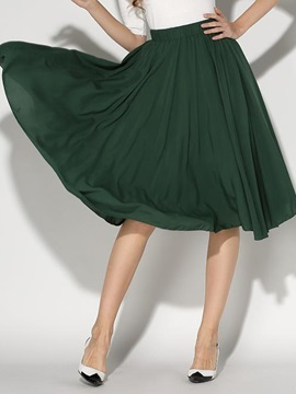 Mesh Pleated Solid Color Skirt