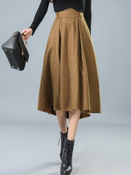 Solid Color Pleated Falbala Winter Skirt