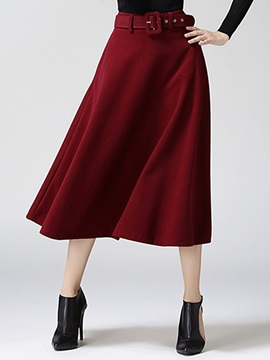 Solid Color Long Retro Skirt