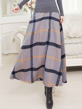 Plaid Printed Pleated  Maxi Skirt