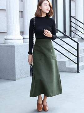 Retro Solid Color Long Skirt