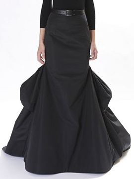 Black Falbala Long Skirt