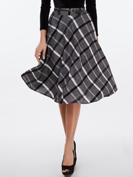 Retro Plaid Printed Skirt