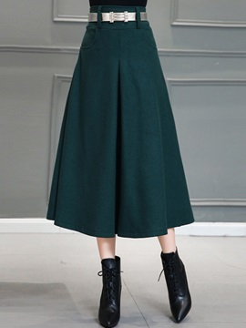 Solid Color Pleated Patchwork Long Skirt