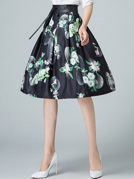 Floral Printing Pleated Skirt
