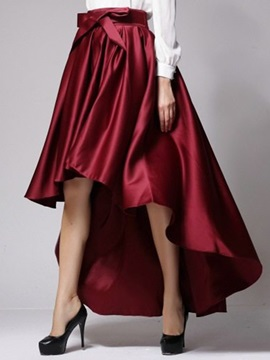 Bowknot Patchwork Pleated Long Gown Skirt