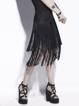 Plain Tassel High-Waist Mid-Calf Women's Skirt