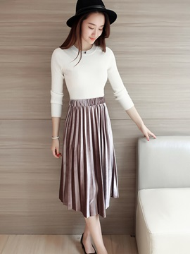 High Waisted Pleated Pure Color Women's Skirts