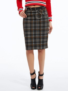 Color Block Plaid Knee-Length Skirt