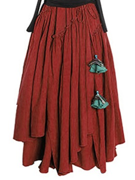 High Waisted Pleated Floor-Length Women's Skirt