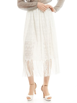 Plain Tassel See-Through Pleated Skirt