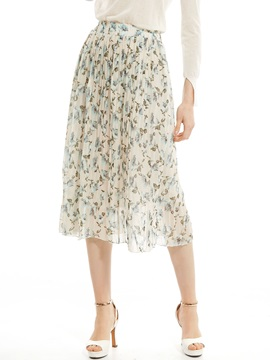 Flower Print Pleated Skirt