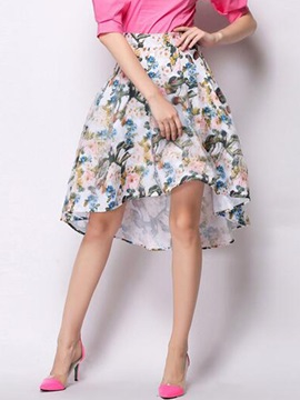 High-Waist Floral Asymmetric Expansion Skirt