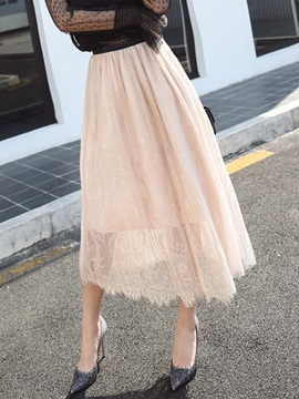 High-Waist Lace See-Through Mesh Expansion Skirt