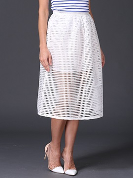 Plain Hollow Mesh Patchwork A-Line Skirt