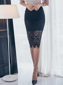Slimming High-Waist Tassel Hollow Patchwork Lace Skirt