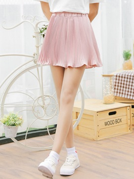 Plain Chiffon Pleated Patchwork Skirt
