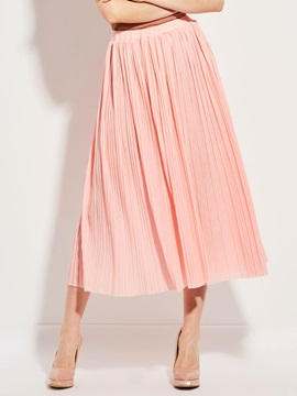 Plain Pleated Mid-Calf Skirt