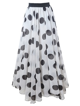 High-Waist Chiffon Polka Dots Expansion Skirt