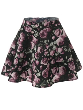 Print Patchwork Zipper Pleated Skirt