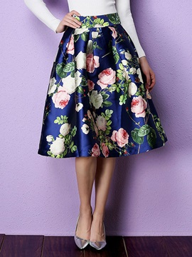 High-Waist Print Ball Gown Skirt