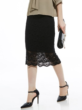 Mid-Calf Plain Hollow Lace Women's Skirt