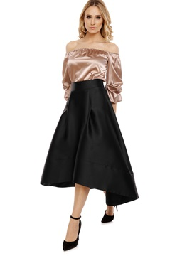Plain Asymmetrical Ankle-Length Skirt