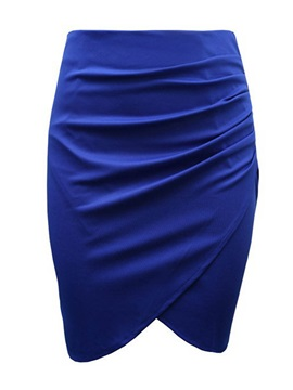 High-Waist Asymmetric Pleated Patchwork Pencil Skirt