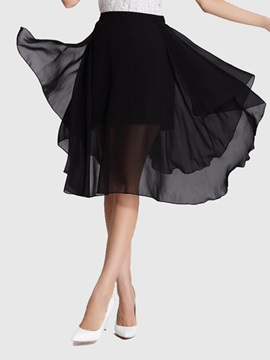 High-Waist Asymmetric Chiffon Pleated Patchwork Skirt