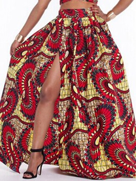 Print Pleated Expansion Floor-Length Skirt