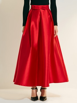 High-Waist Ankle-Length Bowknot A-Line Women's Skirt