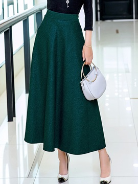 Graceful Wool Blends Plain Expansion Skirt