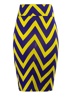 Slim Stripe Print Pencil Skirt