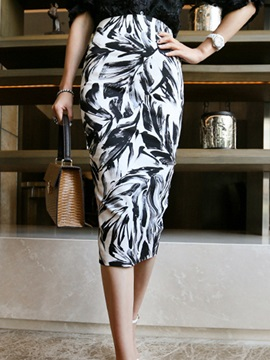 High-Waist Mid-Calf Printed Bodycon Skirt