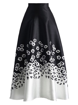 A-Line Mid-Calf Printed High-Waist Women's Skirt