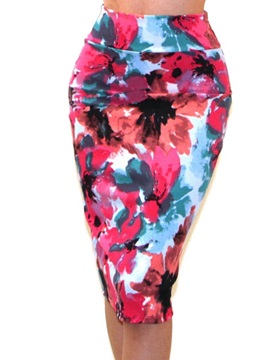 Bodycon Knee-Length Printed Female Skirt
