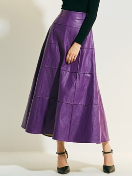 A-Line Ankle-Length High-Waist Solid Color Viscose Fiber Women's Skirt