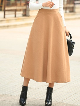 Solid Color Thick A-Line Ankle-Length Women's Skirt